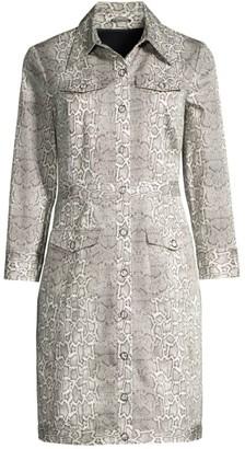 Elie Tahari Emilia Snake-Print Shirtdress
