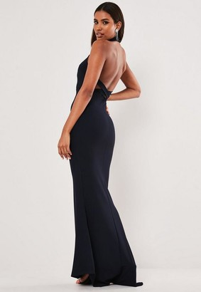 Missguided Navy Halterneck Cross Back Maxi Dress