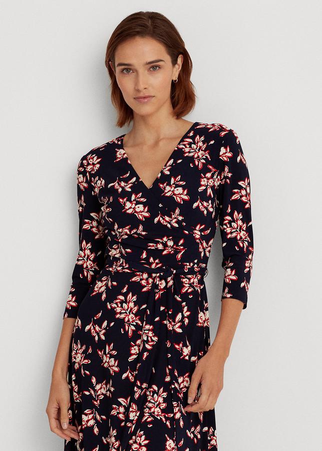Ralph Lauren Floral Jersey Surplice Dress