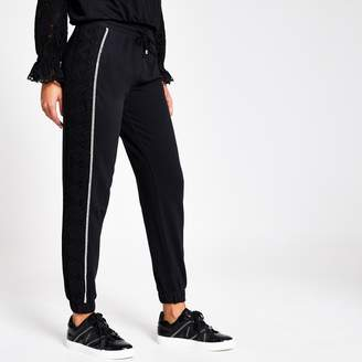 River Island Womens Black broderie side loose fit joggers