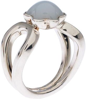 Montblanc Cabochon de Grey Quartz Silver Ring Size 52