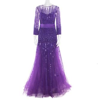 ZUHAIR MURAD Purple Sequin Embellished Mesh Tulle Bottom Long Sleeve Gown L