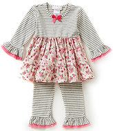 Bonnie Jean Bonnie Baby Baby Girls 12-24 Months Mixed Print Dress & Striped Leggings Set