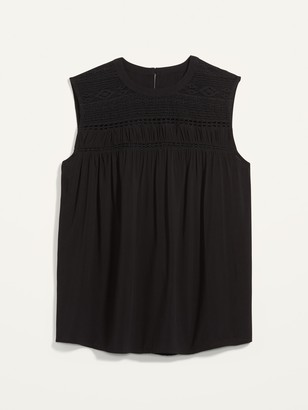 Old Navy High-Neck Lace-Yoke Plus-Size Sleeveless Top