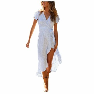 Younthone Women's Beach Dress Sexy Sleeveless Floral V Neck Split Ruffle Bohemian Swing Skirt Everyday Casual Dress Elegant Ladies Party Dress White