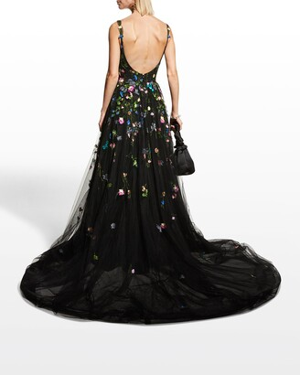 Monique Lhuillier Floral-Embroidered Tulle Ball Gown