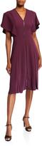 Ted Baker V-Neck Flutter-Sleeve Zip-Front Midi Dress