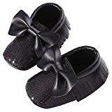 Binmer(TM) Baby Soft Sole Crib Bowknot Tassel Flats Boot Toddler Prewalke Shoes (12~18 Month, Black)