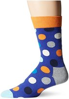 Happy Socks Men's 1pk Unisex Combed Cotton Crew-Blue Big Dot