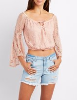 Charlotte Russe Lace Off-The-Shoulder Crop Top
