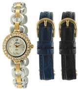 Pierre Jacquard ST1 Women's Two-Tone 3pc Strap Gift Set Watch