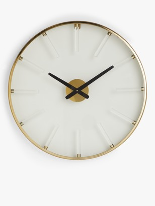 John Lewis & Partners Large Acrylic Hour Peg Analogue Wall Clock, 60cm, Gold/Clear