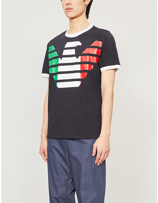 Giorgio Armani Italian Flag logo-print stretch-cotton T-shirt