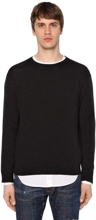 DSQUARED2 Wool Blend Knit Sweater W/ T-Shirt