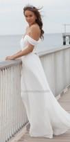 Faviana Lace Up Back Off the Shoulder Chiffon Evening Dress