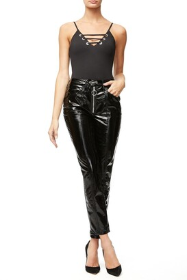 Good American Good Straight Faux Patent Leather Pants