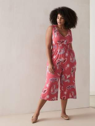 Floral Jumpsuit with Smocked Waist