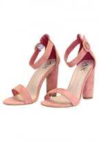AX Paris Peach Suede Heels With Thin Buckle Strap