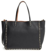 Valentino Garavani 'Medium Rockstud - Alce' Leather Tote - Black
