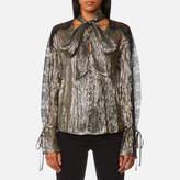 Perseverance London Women's Metallic Chiffon Lace Panel Blouse Black