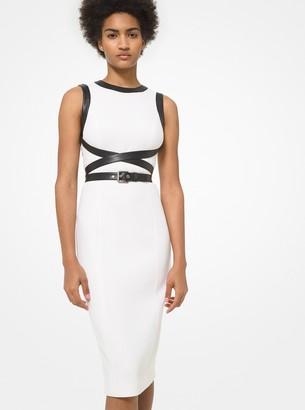 Michael Kors Collection Leather Trim Stretch Boucle Crepe Sheath Dress