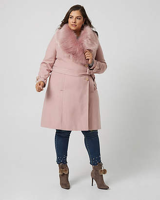 Le Château Cashmere-Like Coat with Faux Fur Collar