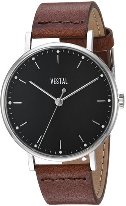 Vestal Sophisticate Stainless Steel Swiss-Quartz Watch with Leather Strap