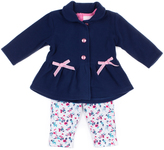 Little Lass Pink & Navy Bow Fleece Jacket Set - Infant