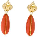 Henry Dunay 18K Coral & Diamond Drop Earrings