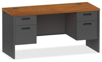 "Lorell 97000 Modular Series Pedestal Executive Desk Size: 31.4"" H x 62.4"" W x 26.4"" D, Finish: Cherry/Charcoal"