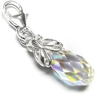 Queenberry Sterling Silver Austrian Crystal Butterfly Pendant European Bead Charm