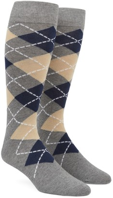 Tie Bar Argyle Light Champagne Dress Socks