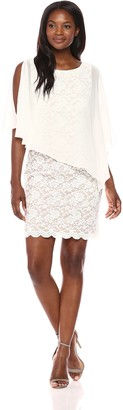 Connected Apparel Women's Solid Chiffon Cape Over Lace Sheath