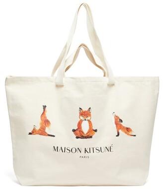 MAISON KITSUNÉ Yoga Fox-print Cotton-canvas Tote Bag - Mens - Beige