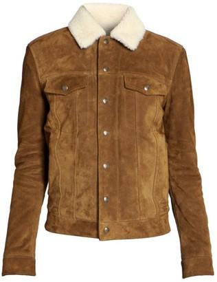 Saint Laurent Shearling-Collar Tanned Denim Jacket