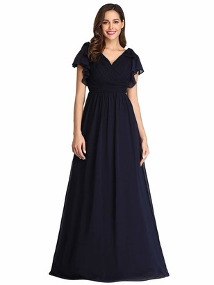 Ever Pretty Ever-Pretty Women's Elegant Floor Length A Line Empire Waist V Neck Long Chiffon Evening Dresses Navy Blue 14UK