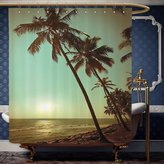 Wanranhome Custom-made shower curtain Palm Tree Decor Sunset Tropical Beach Dusk on Pacific Ocean Vintage Exotic Landscape Print Decor Green Brown For Bathroom Decoration