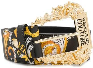 Versace Jeans Couture Baroque-Print Buckle Belt