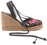 Marc Jacobs Women's Nathalie Embroidered Wedged Espadrilles Black Multi