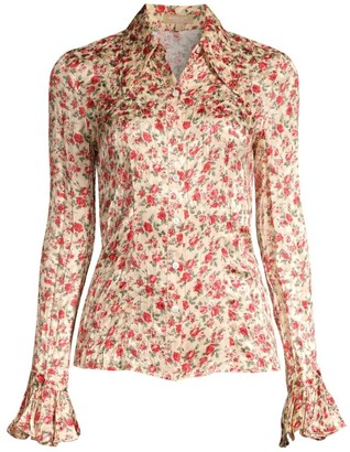 Michael Kors Crushed Silk Floral Bell-Sleeve Shirt