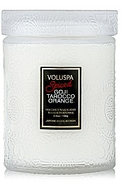 Voluspa Spiced Goji Tarocco Orange Holiday Mini Tall Glass Jar Candle with Lid