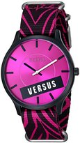 Versus By Versace Women's SO6100014 Less Aluminum and Stainless Steel Watch with Zebra-Print Canvas Strap