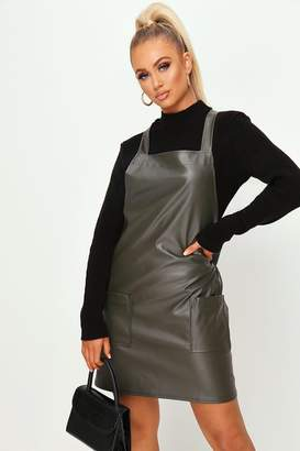 I SAW IT FIRST Khaki Faux Leather Pinafore Dress