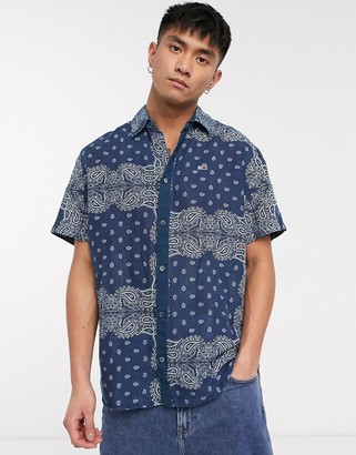 Tommy Jeans short sleeve bandana print shirt comfort fit in blue