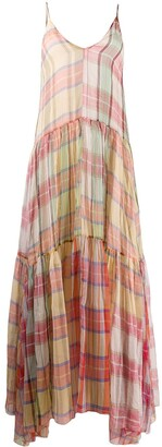 Forte Forte Plaid Print Silk Dress