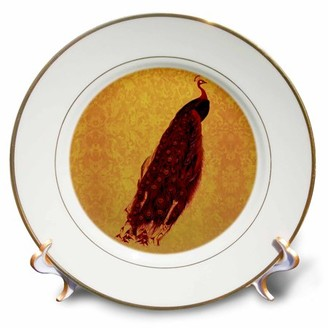 3drose 3dRose Scarlet red peacock with red and orange feathers on orange damask background, Porcelain Plate, 8-inch