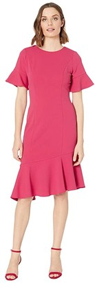 Adrianna Papell Knit Crepe Ruffle Midi Dress w/ Bell Sleeve (Warm Cherry) Women's Dress