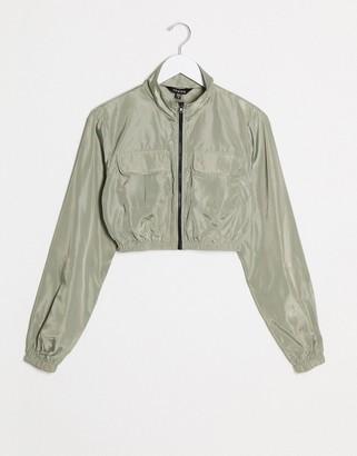 NaaNaa utility track jacket in khaki