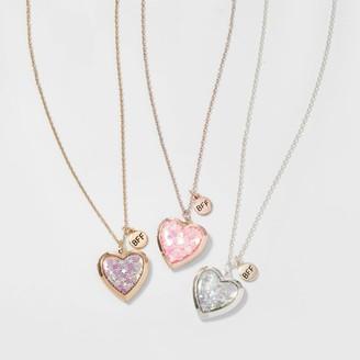 Cat & Jack Girls' 3pk Confetti Heart Necklace - Cat & JackTM Gold/Silver