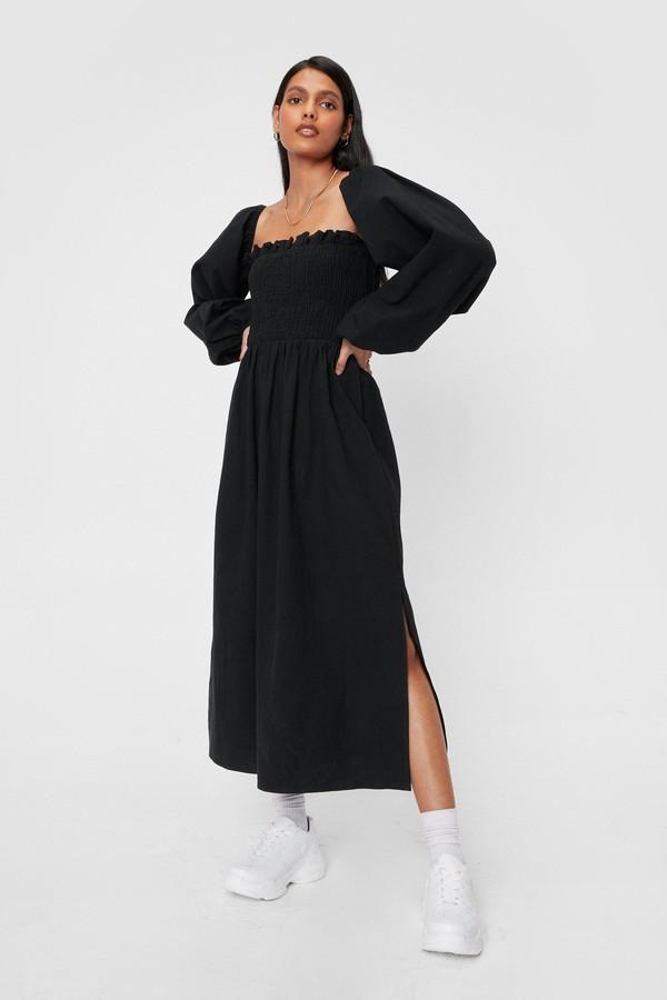 Nasty Gal Womens Puff Sleeve Linen Look Midi Smock Dress - Black - 4
